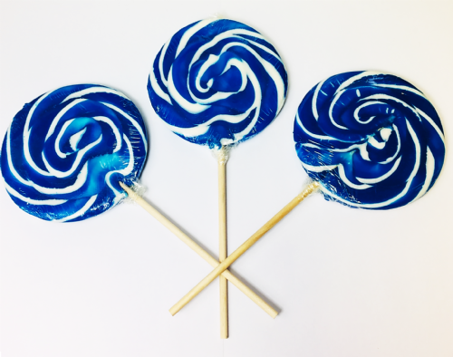LOL07 SWIRL LOLLIPOPS BLUE RASPBERRY x24